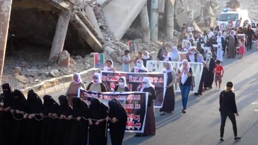 Li Şengalê meşa jinên Êzidî: Bila qirkirin û statu bên naskirin!
